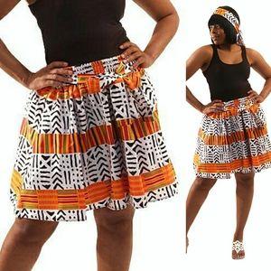 African Print Skirt & Headwrap